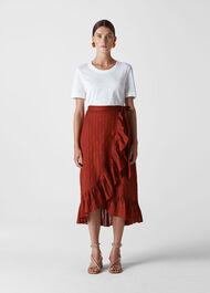 Frill Detail Wrap Skirt Rust