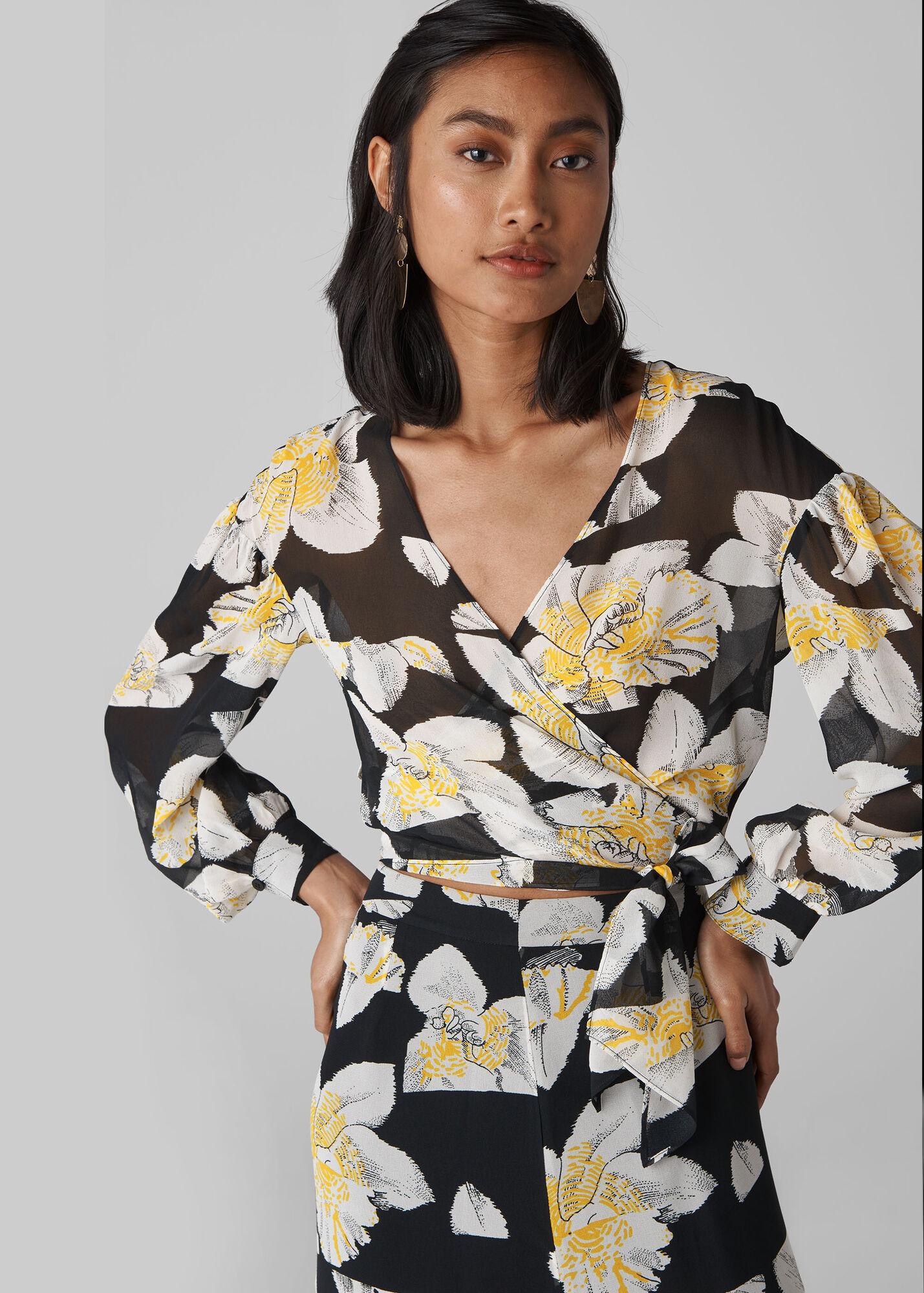 Rika Floral Silk Wrap Top