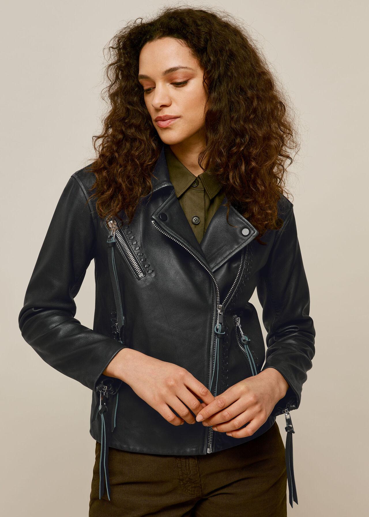 Tessa Tumbled Leather Biker Black