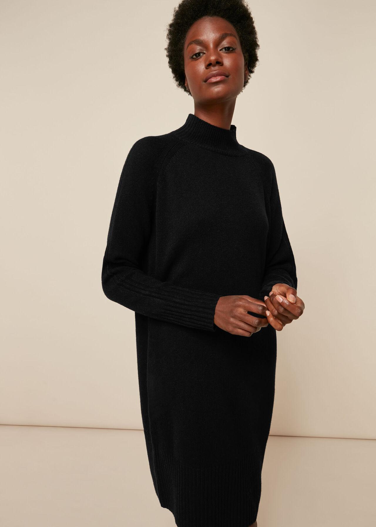 Funnel Neck Wool Knit Dress