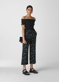 Kuba Print Linen Trouser Black/Multi