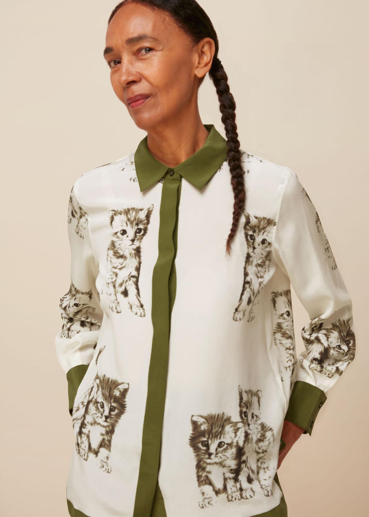 Cat Print Silk Blouse