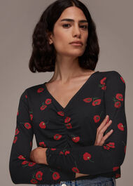 Poppy Print Ruched Neck Tee