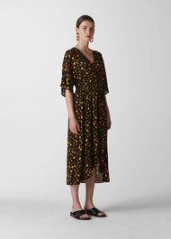 Aster Floral Wrap Dress Black/Multi