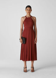Kyra Pleated Dress Burgundy