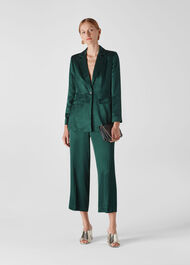 Satin Single Breasted Blazer Dark Green