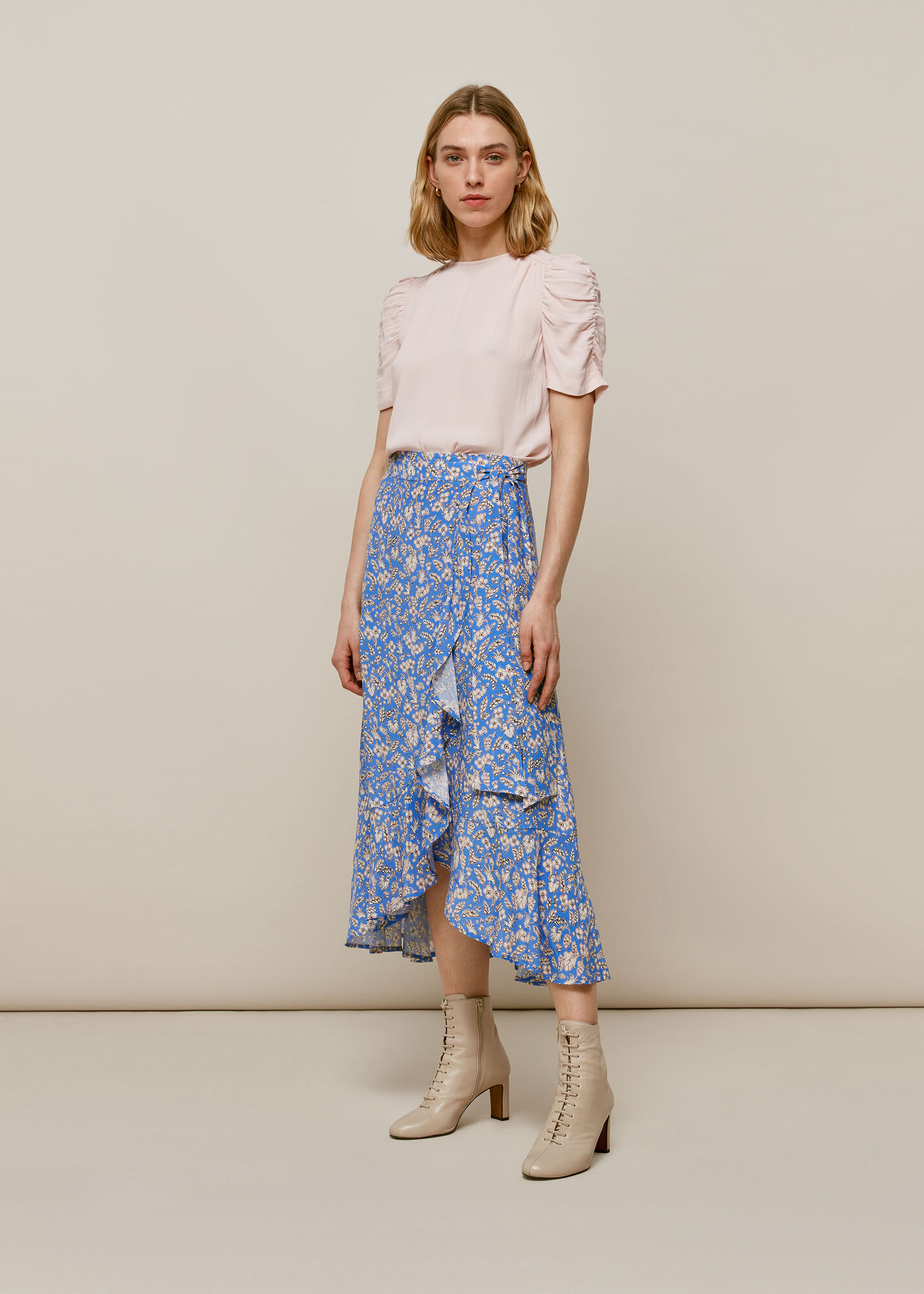 Wheat Floral Wrap Skirt