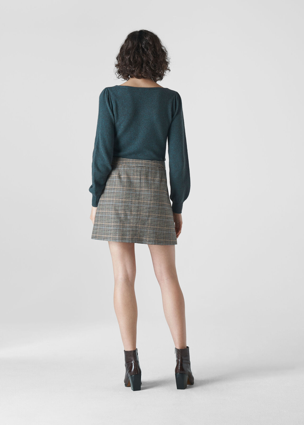 Square Neck Yak Mix Knit Teal