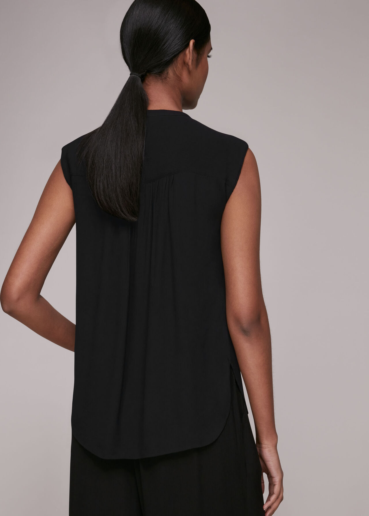 Crinkle Button Front Tank Top