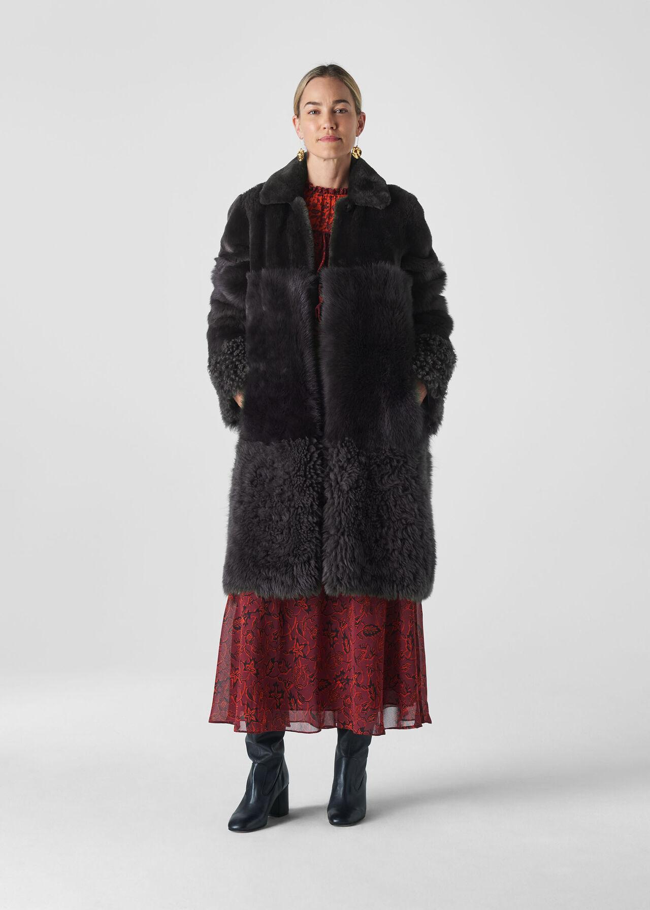 Cosma Shearling Coat Grey