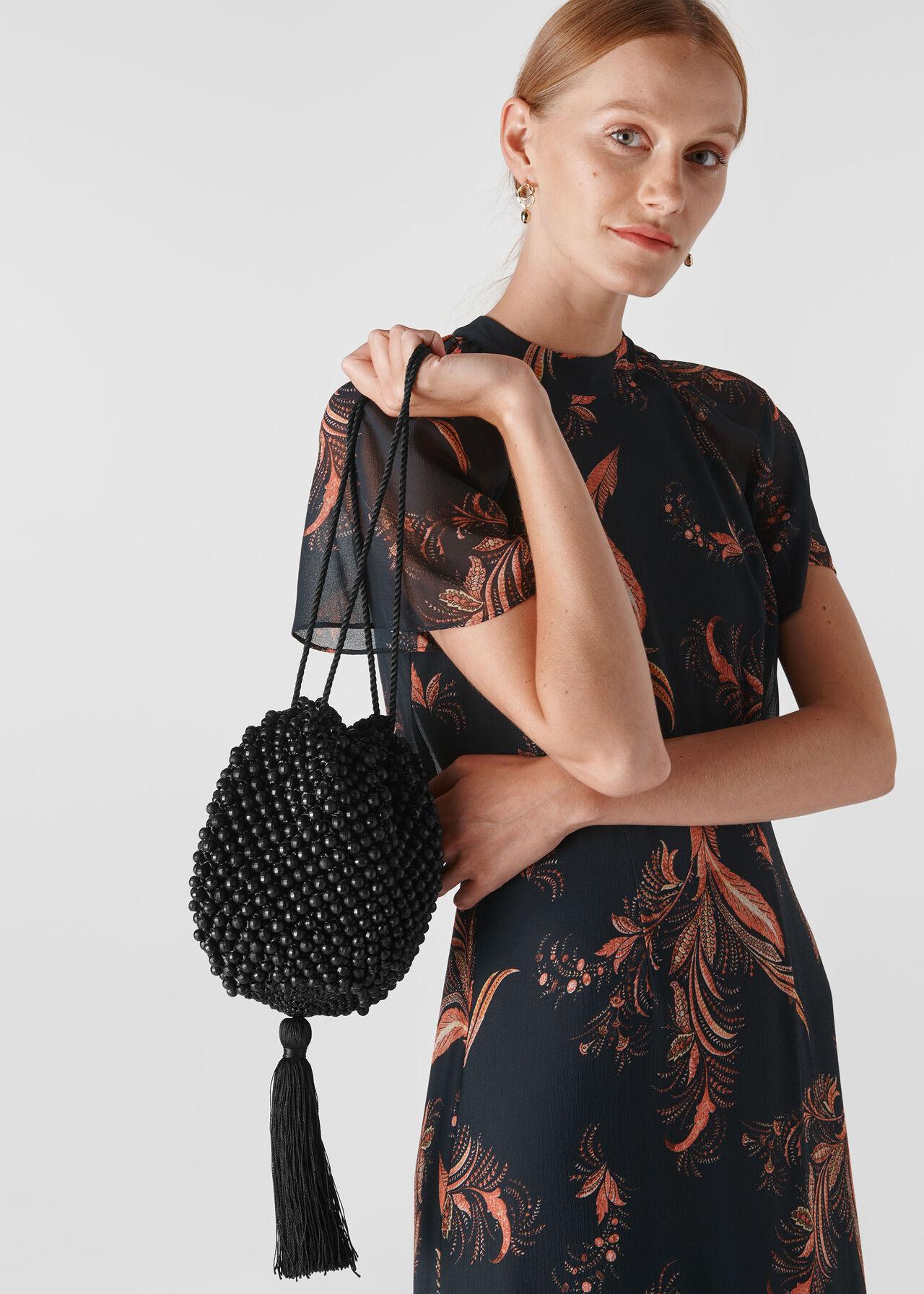 Lila Beaded Drawstring Bag Black
