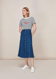 Oui Cherie Stripe Logo Tshirt Blue/Multi