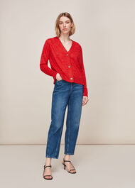Relaxed Linen Mix Cardigan Red