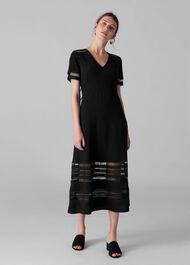 Elisa Lace Detail Midi Dress Black