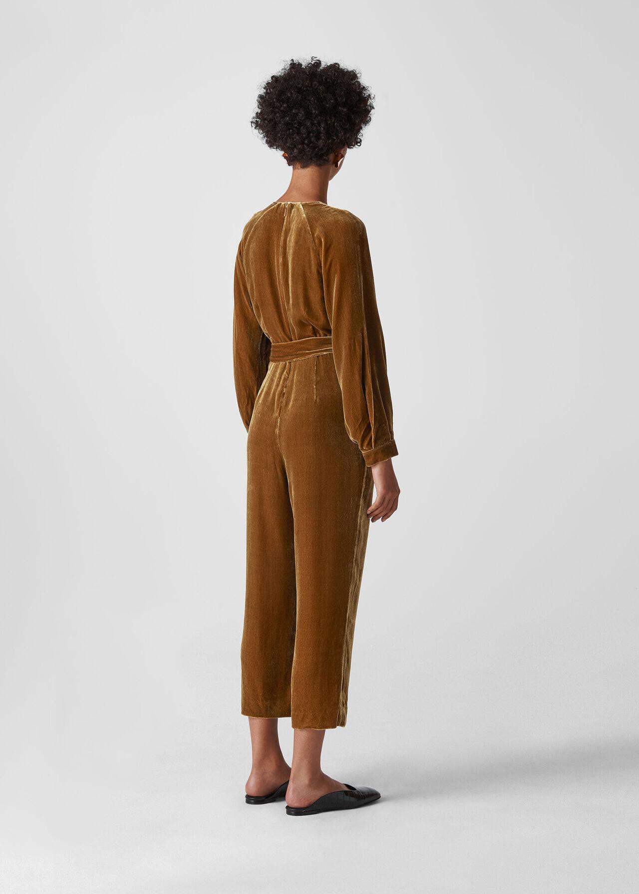 Thea Wrap Velvet Jumpsuit Gold