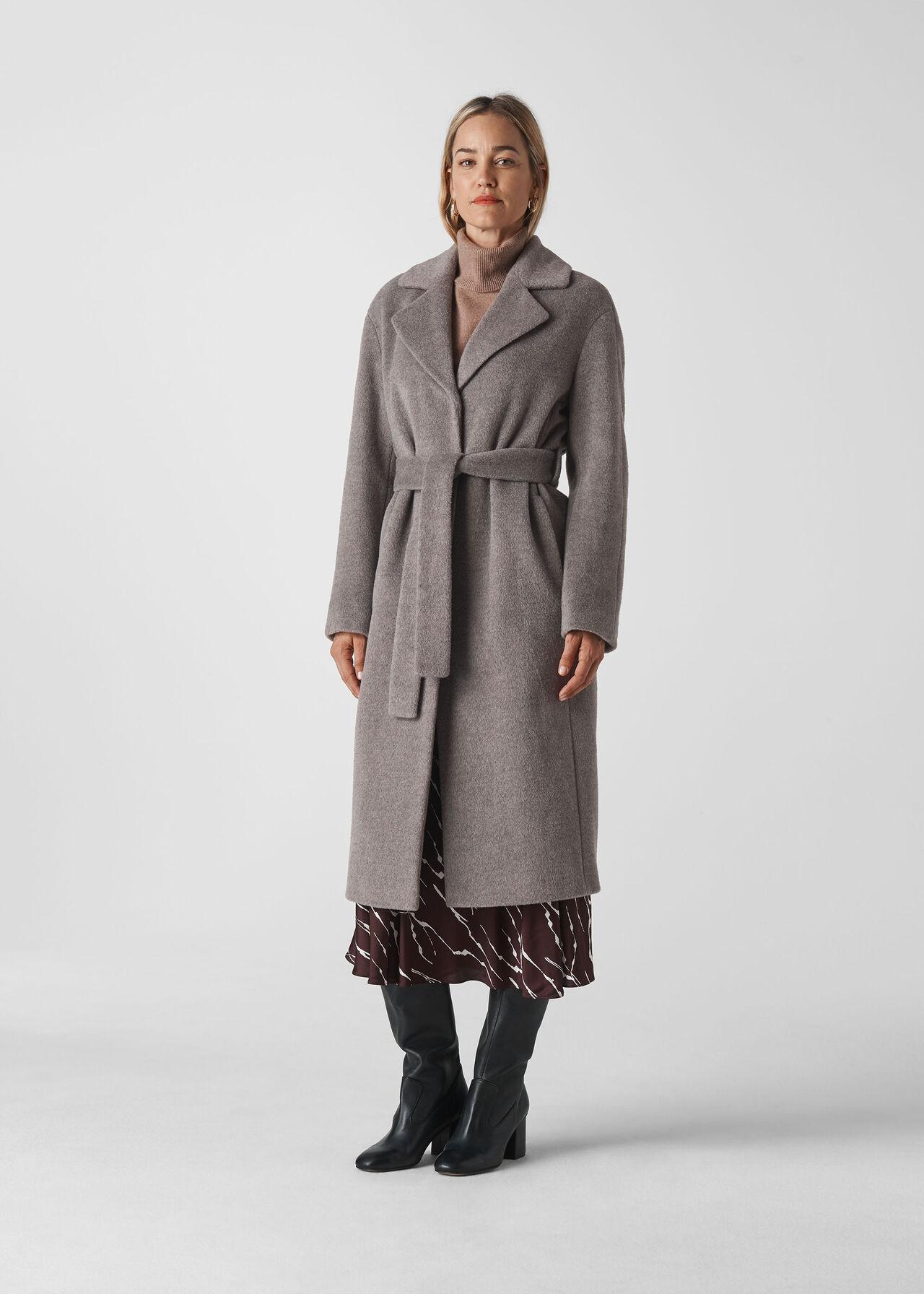 Darcey Drawn Belted Wrap Coat Grey
