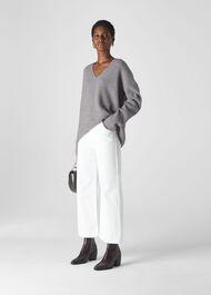 V Neck Rib Wool Sweater Grey