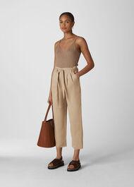 Belted Wide Leg Crop Trouser Neutral