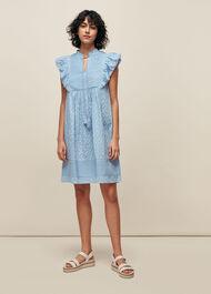 Pintuck Frill Cotton Dress Blue