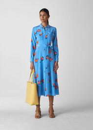 Elfrida Bud Print Silk Dress Blue/Multi