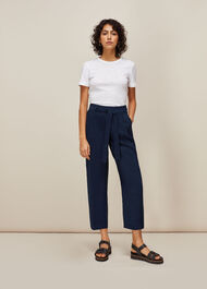 Belted Casual Crop Trouser Navy