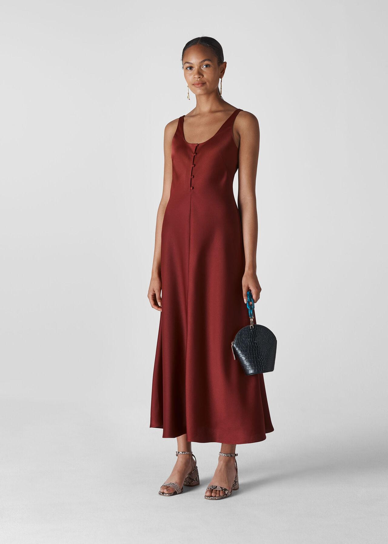 Burgundy Pippa Satin Slip Dress Whistles Whistles