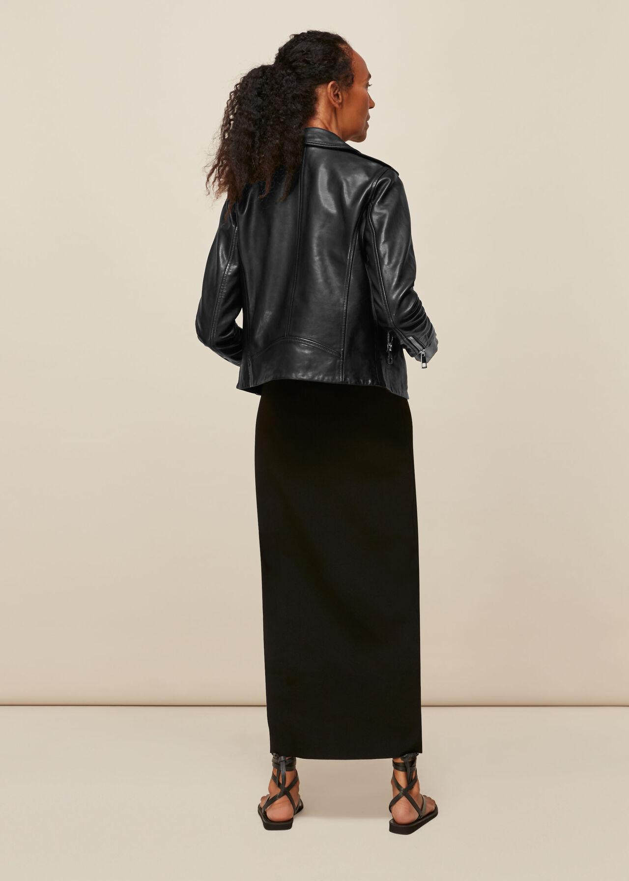 Agnes Pocket Leather Jacket Black