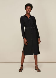 Premium Jersey Belted Dress Black
