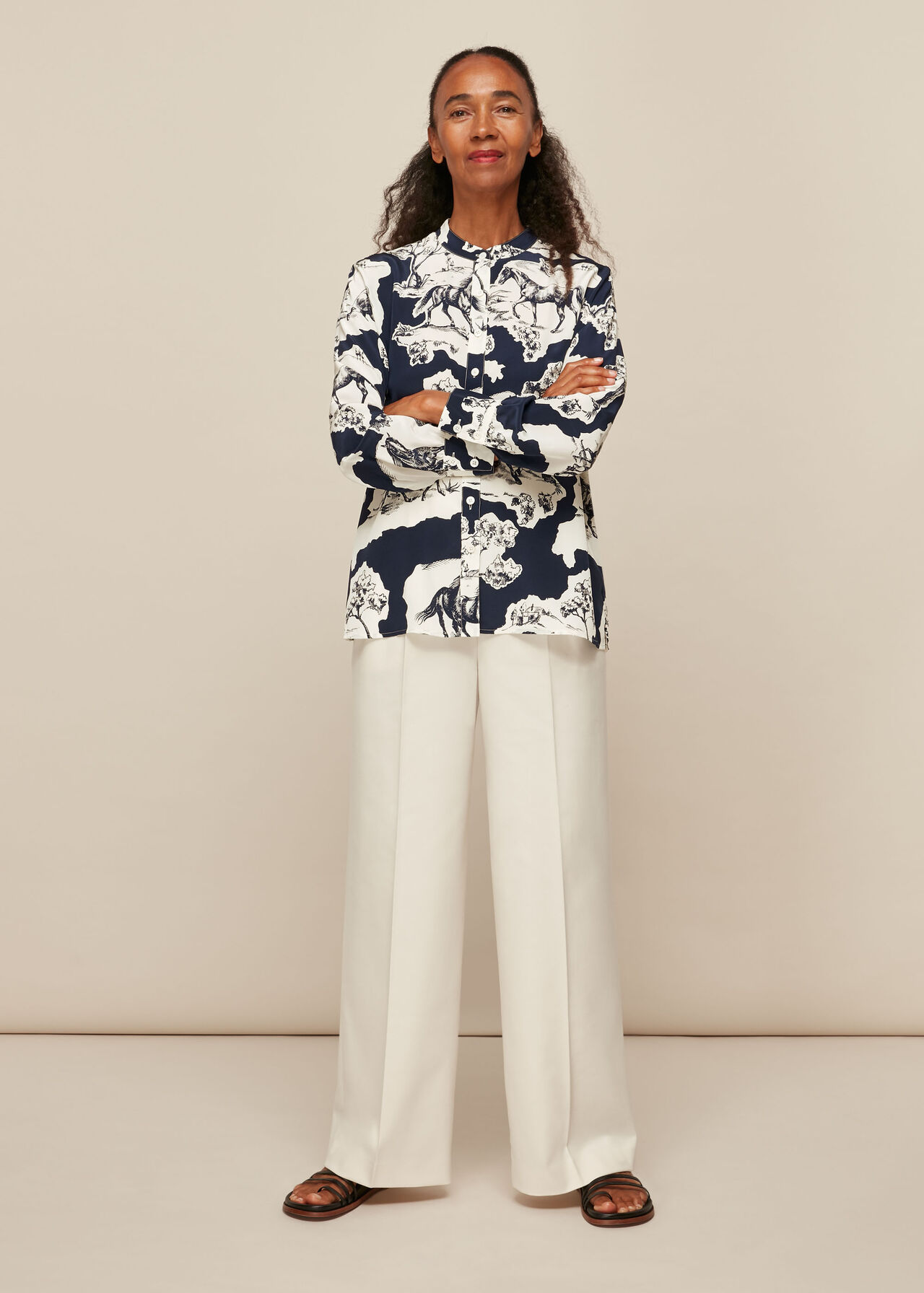 Stallion Print Silk Shirt