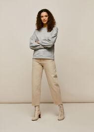 Gathered Sleeve Sweatshirt Grey