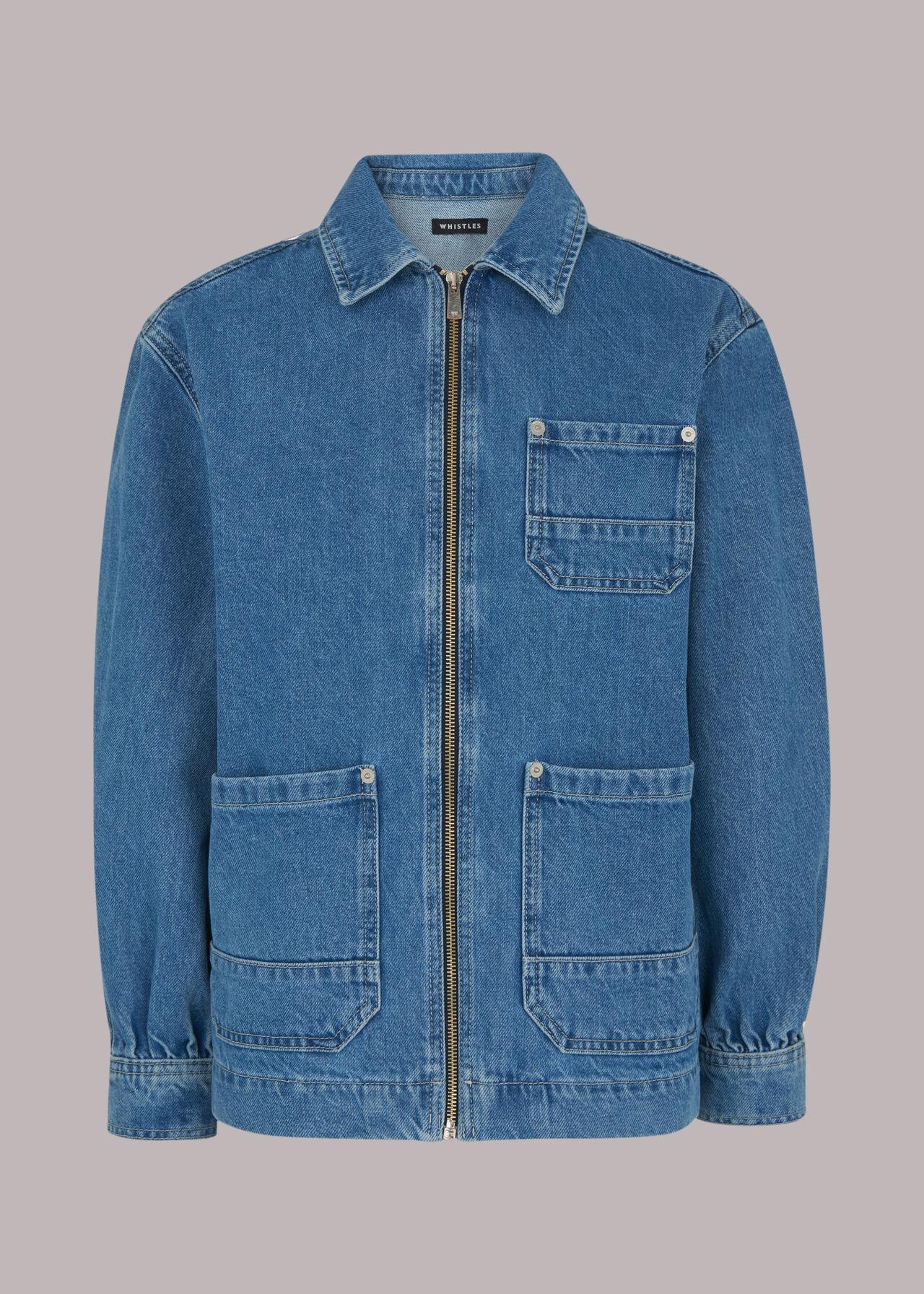 Zip Front Denim Cargo Jacket