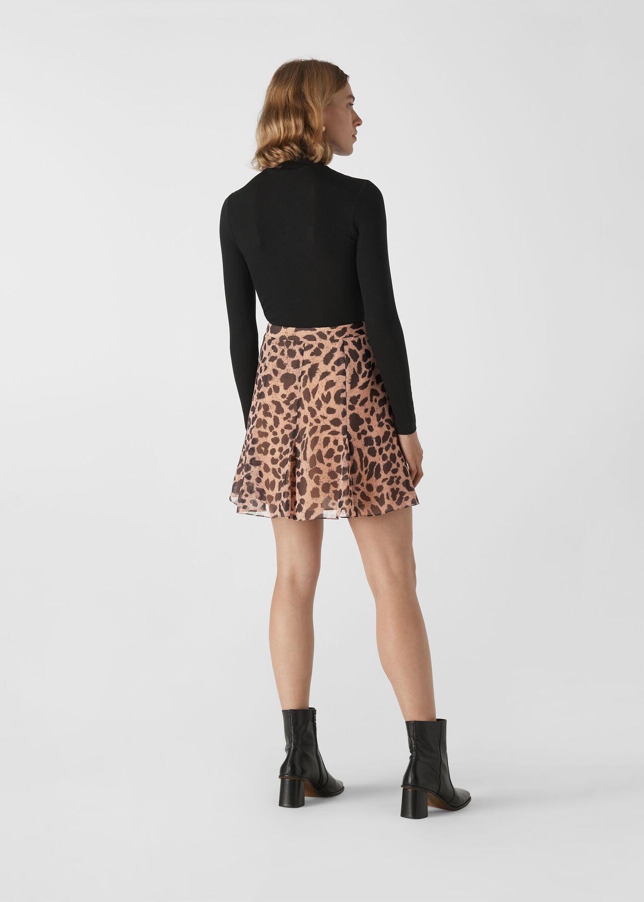 Brushed Cheetah Flippy Skirt Leopard Print