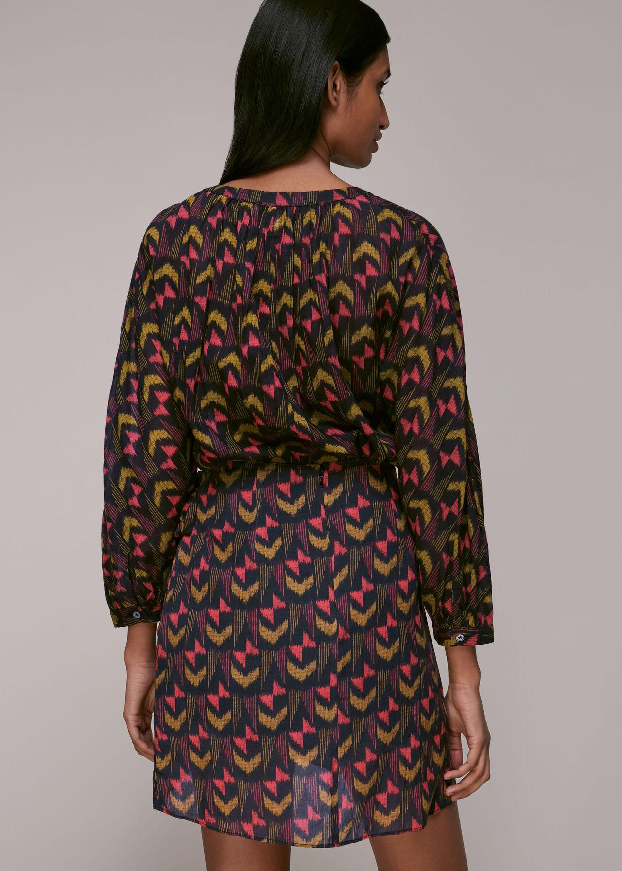Geometric Ikat Wrap Skirt Multicolour