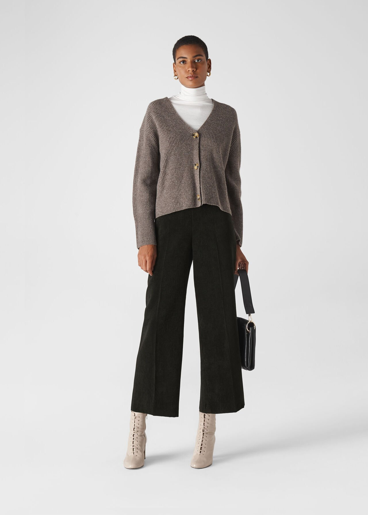 Cord Flat Front Trouser Black
