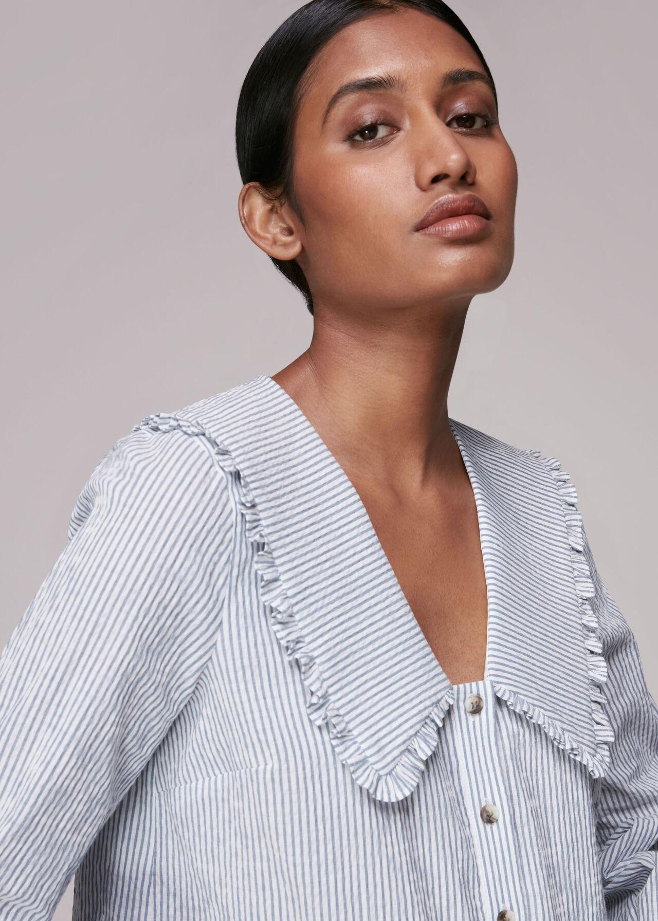 Oversized Collar Stripe Top