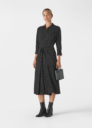 Abstract Spot Selma Tie Dress Black/Multi