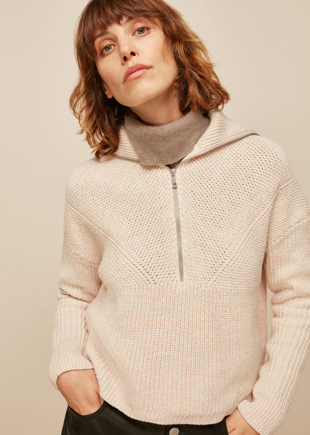 Knitted Zip Neck Sweater