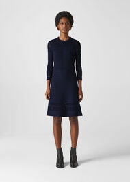 Pointelle Detail Knit Dress Navy