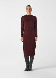 Animal Jersey Jacquard Dress Burgundy