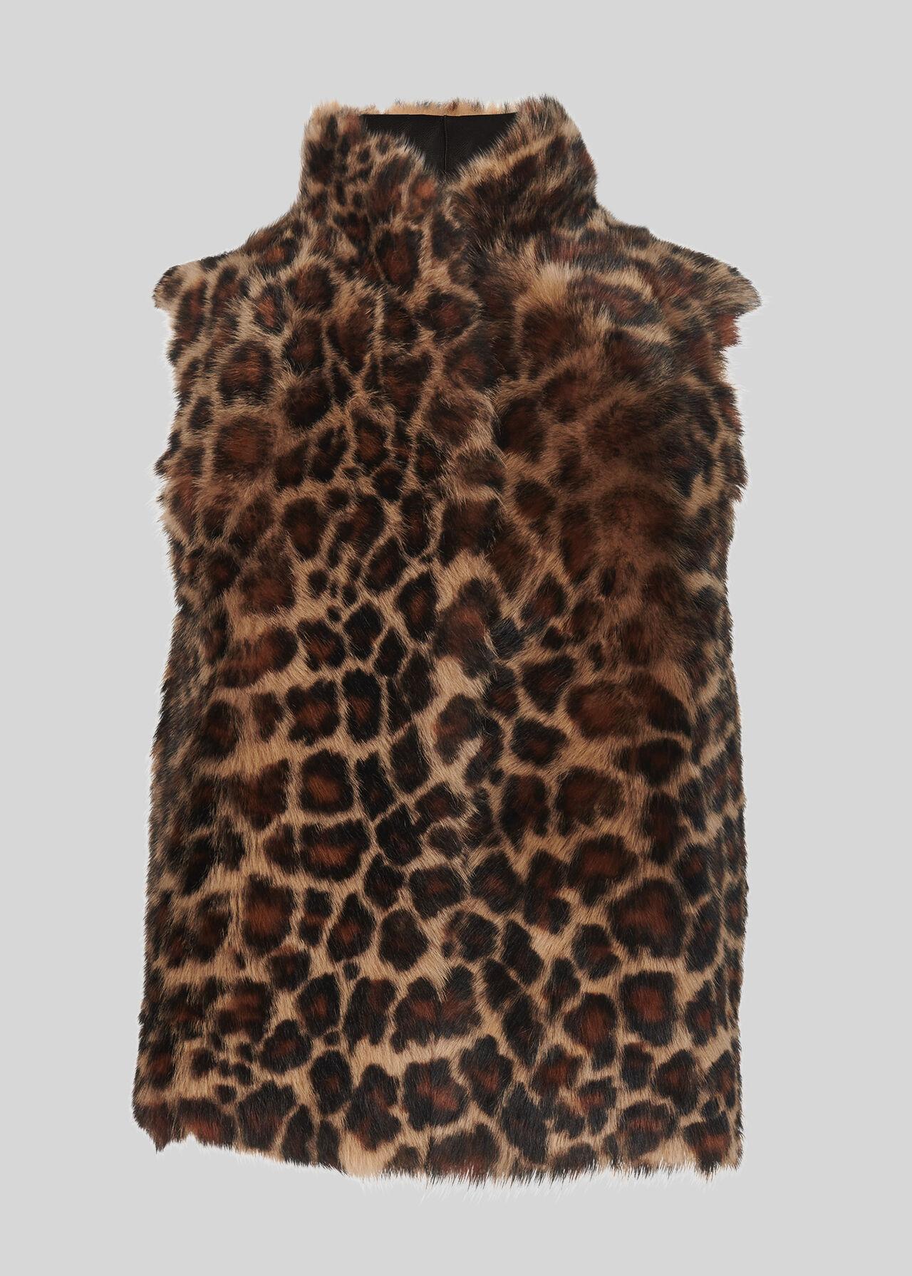 Toscana Animal Sheepskin Gilet Leopard Print