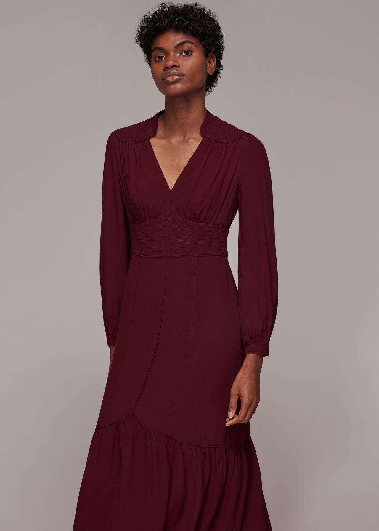 Topstitch Detail Midi Dress
