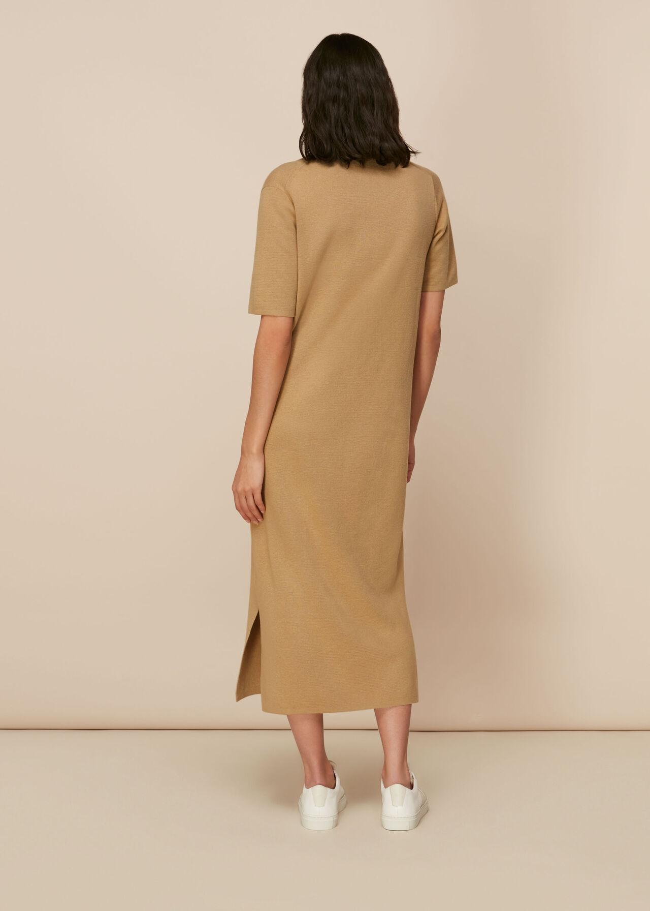 Collar Detail Midi Knit Dress