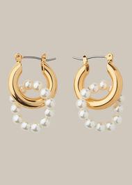 Pearl Double Hoop Earring Gold/Multi