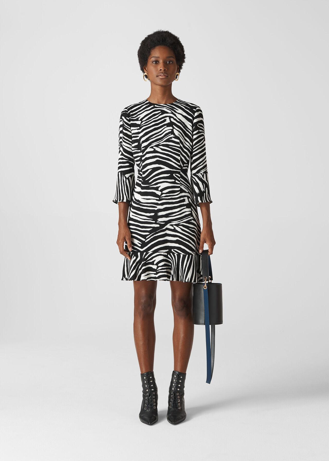 Zebra Print Flippy Dress Black/White
