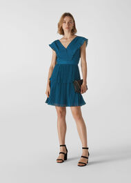 Penelope Tiered Dobby Dress Teal