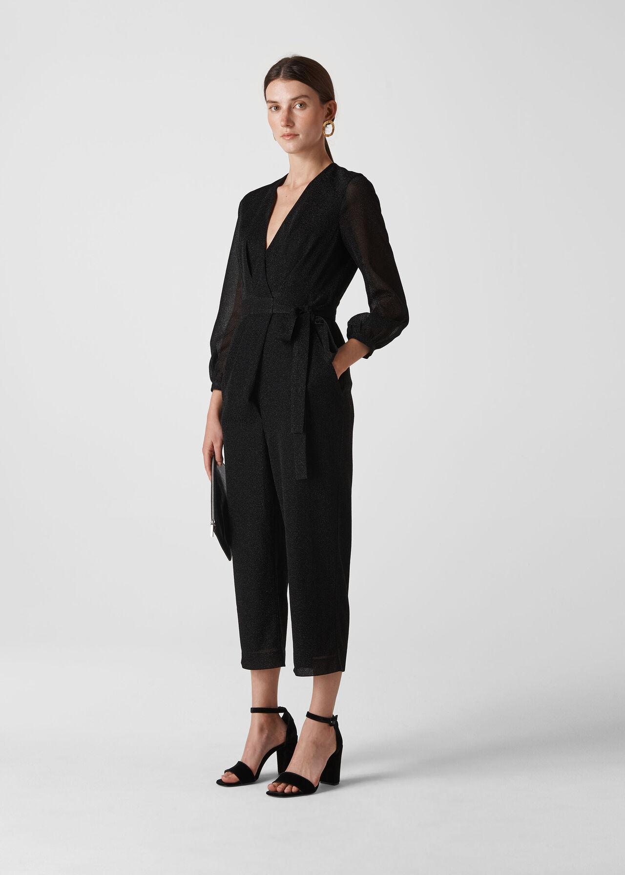 Metallic Wrap Tie Jumpsuit Black