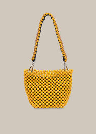 Martha Mini Beaded Bucket Bag Yellow