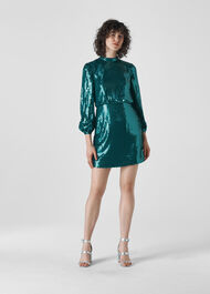 Dena Sequin Dress Teal