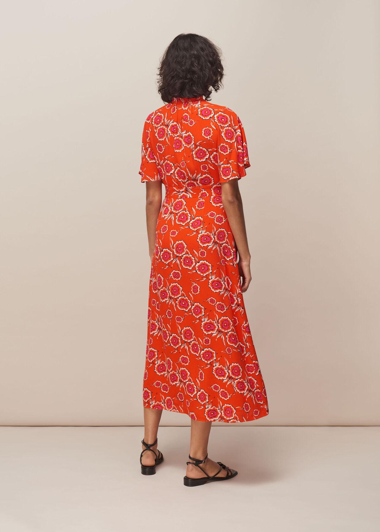 Ella Diagonal Floral Dress Red/Multi