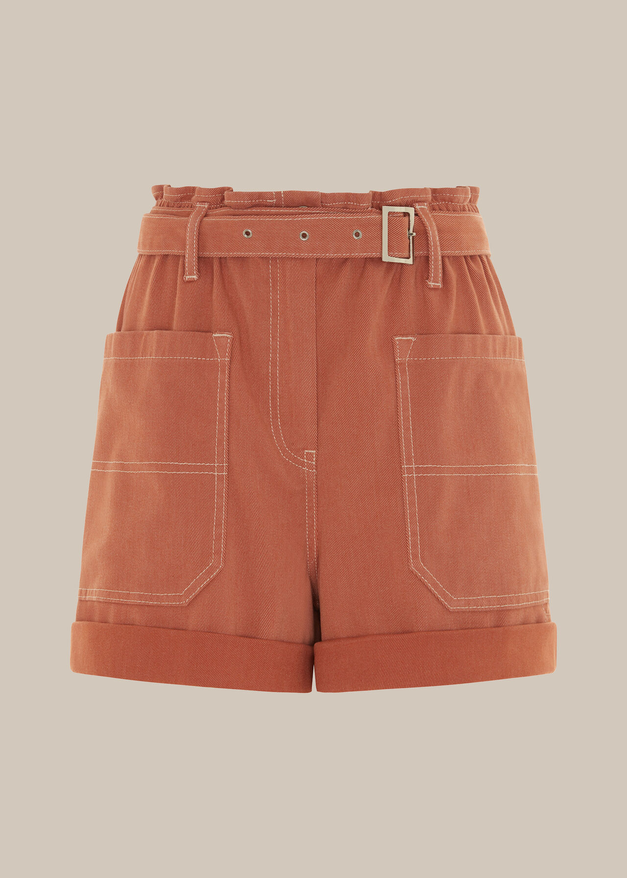 Tie Waist Cargo Pocket Short Coral/Multi